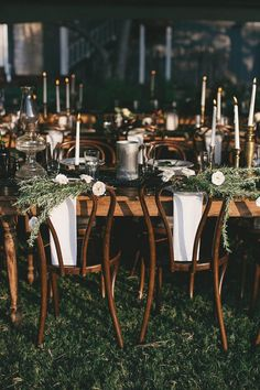 Love seeing our Thibaut Bentwood chairs with a little greenery /// Bird Dog Wedding, Bricolage Curated Florals, and a whole slew of fab vendors did such an amazing job on Adrienne & Trey's wedding! Check out the full post on Junebug Weddings! /// Bohemian Texas Wedding at Sage Hill Inn Above Onion Creek /// Photographed by Geoff Duncan