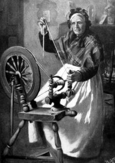 Old ancestry visit genealogy Scottish family history photograph image of a crofter spinning wool on Fair Isle, Scotland