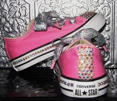 A new pair converse all star toddler/youth sized sneakers have crystal AB rhinestones covering toes, back stripes and lines the sides. Glitter ribbon for laces. The pair in this listing are sold, message me for a custom request order. Many base colors available. Pick your color for base shoes and rhinestones/laces for a customized pair of bling baby shoes. Toddler sizes are $55, youth sizes are $65, adult sizes see other listing. Happy feet sole candy... ENJOY