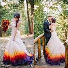 If you have wedding coming soon you might want to take a look the inspirational story you will sure be amazed! It's quite refreshing and inspiring to try something new, for example make your own wedding dress and the whole arrangement in color!