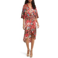 Women's Alice + Olivia Clarine Floral Silk Wrap Dress (€385) ❤ liked on Polyvore featuring dresses, wrap dress, flower print dress, floral kimono, red wrap dress and red kimono