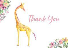 Printable Baby Shower Thankyou Card - Giraffe Baby Shower Printables, Etsy Store, Giraffe, Digital, Cards, Instagram, Design, Felt Giraffe