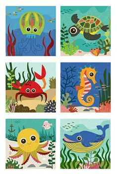 These would look great painted on canvas for the kids bathroom! Now.. to find someone to paint them for me...