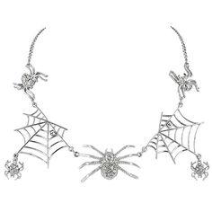EVER FAITH® Halloween Tarantula Spider Web Necklace Clear Austrian Crystal Silver-Tone