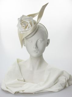 """Philip Treacy. Ivory parisisal perching hat. $1258.00 Ivory parisisal """"mini beano"""" perching hat with satin rose and buntal swirl, on a hairband.  Secured by a metal comb. Metal Comb, Philip Treacy, Satin Roses, Floral Headpiece, Amazing Ideas, Summer Wear, Hair Band, Fall Winter, Ivory"""
