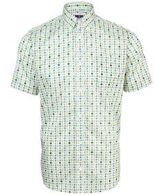 Blue and Green Dan Print Short Sleeve Shirt, Liberty London