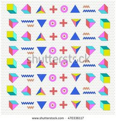 Trendy geometric elements memphis cards. Retro style texture, background and geometric pattern. Modern abstract design poster, cover, and wallpaper
