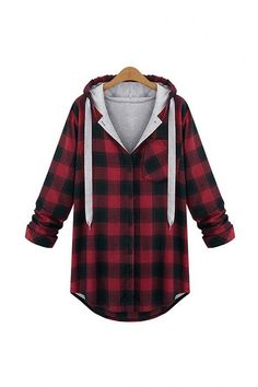 Plus Size Long Sleeve Red Checked Top - US$31.95 -YOINS