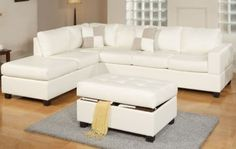 Featured in multiple stunning color combinations, this modern sectional sofa set adds sophistication to any family room. The modern sofa set includes a storage ottoman, which is perfect for storing aw 3 Piece Sectional Sofa, Sofa Set, Couches, White Sectional, Cream Leather Sectional, Leather Lounge, Leather Ottoman, Leather Recliner, American Leather Sleeper Sofa