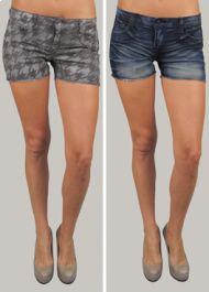 Bleulab Jean/Houndstooth Reversible Jean Shorts!!