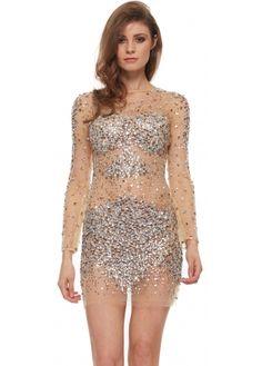 Jovani 7757 Nude &amp- Gunmetal Crystal Adorned Long Sleeve Mini Dress ...