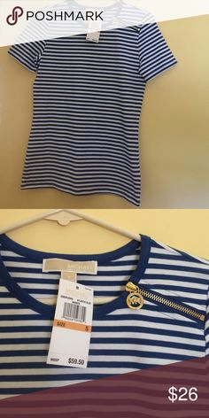 New Michael Kors Striped Top New with tags, Blue and white striped top. Gold zipper on shoulder.  95% cotton and 5% elastane. Size small. Retail price is $59.50. Michael Kors Tops Tees - Short Sleeve