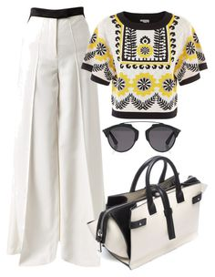Yellow, Black & White by carolineas on Polyvore featuring polyvore, fashion, style, Temperley London, Racil, COSTUME NATIONAL, Christian Dior and clothing