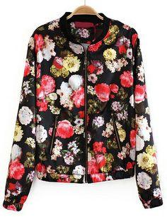 Black Long Sleeve Zipper Floral Crop Jacket EUR€23.04
