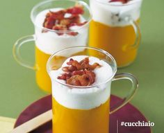Cappuccino di patata dolce alle carote e bacon