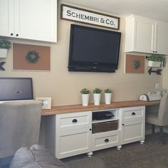 like this set up for the Playroom IKEA Besta cabinets and butcher block to create the desk