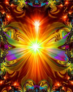 """Light Being   (According to artist:  """"... abstract in nature, showing us that love and healing energy can be found in ways that transcend our usual human perceptions. Every chakra color is here, along with tiny angels and light beings hidden in the border, protecting and guiding. Be the Light that you wish to see in others."""")"""