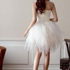 Evening Wedding Party Tube Corset Dress Flared Tulle Skirt  #fashion #cool #lace