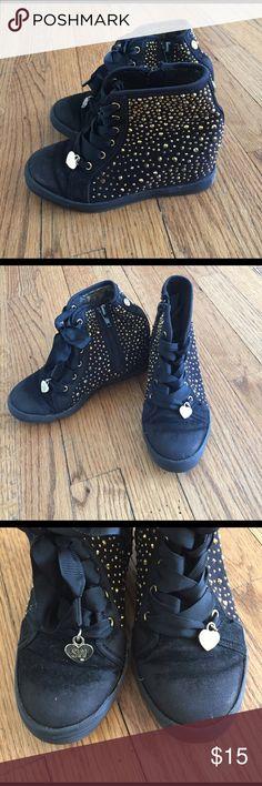 Stuart Weitzman Girls Studded Wedge Sneaker 13 Wedge sneaker, side zip, black grosgrain laces, gold studs throughout Stuart Weitzman Shoes Sneakers