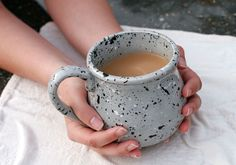 Gray Mug with Black and White Splatters  Paint by GrayDecember