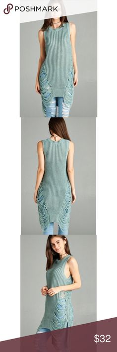 Last One!!  Distressed Knit Top  IVORY SLEEVELESS ROUND NECK FRAYED SWEATER. 100% ACRYLIC Tops