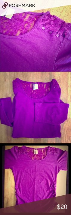 🤰🏻💜 Purple Maternity Lace Top 💜🤰🏻 💜 Purple Maternity Lace Top 🤰🏻3/4 inch sleeves • Lace at the top of the back & at the top of the front • there are little Purple buttons along the lace at the front top, as well, as seen in photos • Rouching on the side for the growing baby bump • This top can even be worn without being pregnant because it is made to stretch so much. I bought when I was pregnant but also wore when I was not pregnant 😁 Still in GREAT CONDITION 💜🤰🏻 oh!mamma Tops…