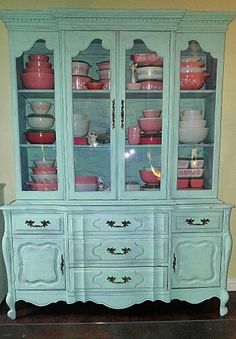 My hutch - redid in a mint green so my pinks could have a home❤