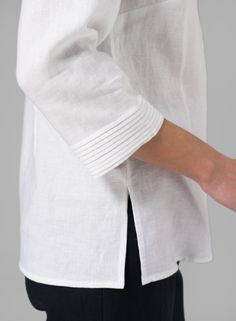 Linen Pleated Top Soft White