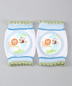 Blue & White Animal Gripper Kneepads by Skidders. Little ones go mobile with these ingenious gripper kneepads that protect with style. Outfitted with grips to prevent slips, these cute covers are machine washable for grassy, grazed knees $5.99