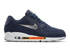 Nike Air Max 90 Essential - Chaussure Nike Sportswear Pas Cher Pour Homme Bleu nuit marine/Blanc/Gris loup/Argent métallisé 537384-411
