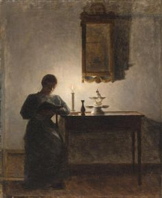 Reading by candlelight, 1919, Peder Vilhelm Ilsted. Danish (1861 - 1933)