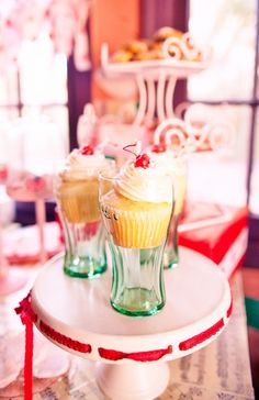 Cupcakes in Coke glasses at a Vintage Shirley Temple Party #shirleytemple #party