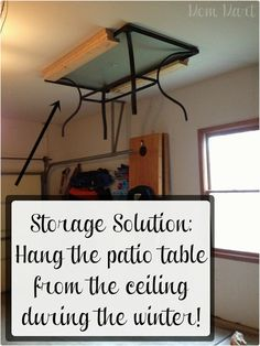 If you're blessed with a patio and a garage, hang outdoor furniture from the ceiling to maximize space. | Easy Ways To Get Your Home Ready For Winter