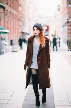 Stockholm Outfits with Tictail. - LE HAPPY : LE HAPPY. Grey turtleneck knit sweater-dress+black over the knee boots+brown wool coat+grey knit beanie. Fall Casual Outfit 2016