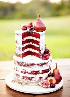 27 Naked Fall Wedding Cakes That Will Make Your Mouth Water: #9. Deep red fall wedding cake with pears, cherries and figs