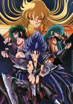 Saga di hades//shaka,shura,saga and camus Anime Comics, Comic Anime, Manga Anime, Anime Art, Saint Seiya Hades, Knights Of The Zodiac, Japanese Art, Virgo, Sailor Moon