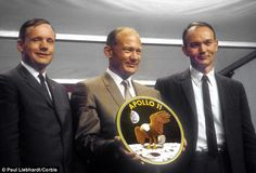 Pictured left to right are Neil Armstrong, Buzz Aldrin and Michael Collins - the crew of A...