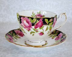 Vintage Tea Cup and Saucer Black and Pink