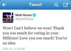 SO HAPPY!!!!! WE ARE SO PROUD OF YOU GUYS! @Niall Horan @Harry Styles @Zayn Malik @Liam Payne @Louis Tomlinson