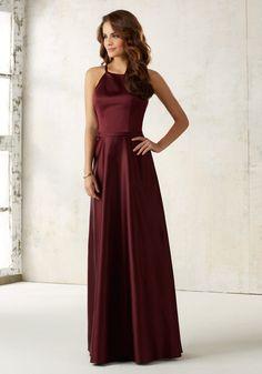 Satin Bridesmaids Dress with Matching Satin Waistband