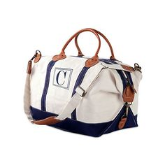 Monogram Weekender Bag Navy Duffels ($79) ❤ liked on Polyvore featuring bags and luggage