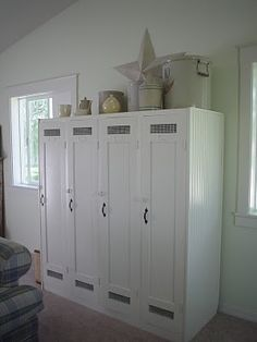 Repurposing lockers that came from an old country club into beautiful and unique storage! via http://meridianroad.blogspot.com/