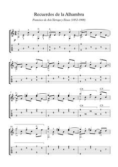 Recuerdos de la Alhambra (Memories of the Alhambra) is a classical guitar piece composed in 1896 in Granada by Spanish composer and guitarist Francisco T? Here is an arrangement for easy classical guitar, (no tremolo). Guitar Strumming, Fingerstyle Guitar, Guitar Chords, Acoustic Guitar, Guitar Tabs Songs, Music Guitar, Piano Sheet Music Classical, Classical Guitars, Flamenco Guitar Lessons