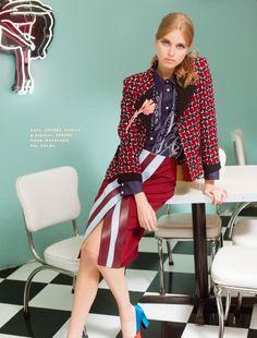 DINER GIRL: Megan Irminger for Elle Mexico December 2015 - Chanel Fall 2015 coat