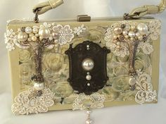 Vintage purse, couture purse, beaded silver, white box purse with applique and vintage key hole, RESERVED