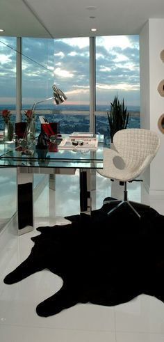 This is an amazing office with a view of the city. [ Barndoorhardware.com ] #office #hardware #slidingdoor