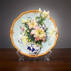 creative handmade painted emboss lily flower vase decorative hanging plate ceramic wall plate modern home decoration ornaments