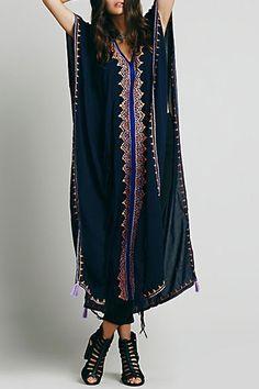 Embroidered High Slit Cape Dress