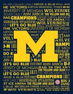 Michigan Wolverines Typography Canvas Wall Art