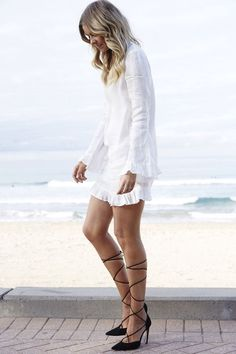 70's Summer Style - Lace Up Heels, Bell Sleeves - Elle Ferguson